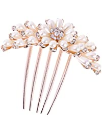 Imported Rose Gold Hair Comb Clip Hairpin Jewelry Pearls Alloy Wedding Bridal Prom
