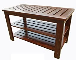 D-ART COLLECTION Mahogany Michaela Shoe Bench by D-ART COLLECTION, INC