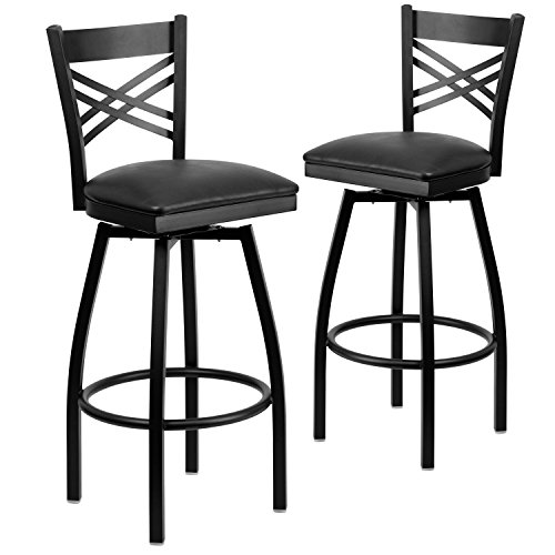 Flash Furniture 2 Pk. HERCULES Series Black X Back Swivel Metal Barstool - Black Vinyl Seat