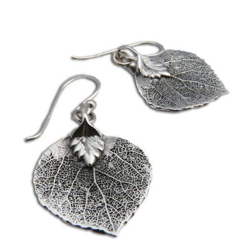 Bodhi Leaf Buddhist Earrings - Sterling Silver