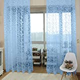 Generic Flocking Sheer Curtain Panel Window Balcony Tulle Divider Blue 100*200cm