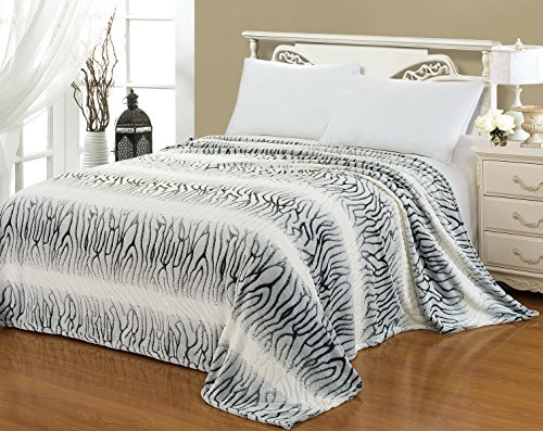 "Euphoria Brand Super Soft Fleece Prints Throw Blanket For Sofa Couch Lounge Bed Bedding Classic Luxury Black & White Zebra Fretwork Strpipes Single 60"" X 80"" front-1020886"