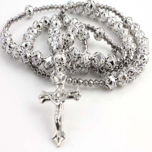 CATHOLIC CRUCIFIX PLATINUM DIAMOND CUT BEAD ROSARY SILVER DESIGN FINISH NECKLACE 40