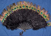 Zucker Feather Marabou Fan with Peacock Plastic Staves, Black