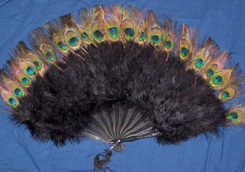 Zucker Feather Marabou Fan with Peacock Plastic Staves Black