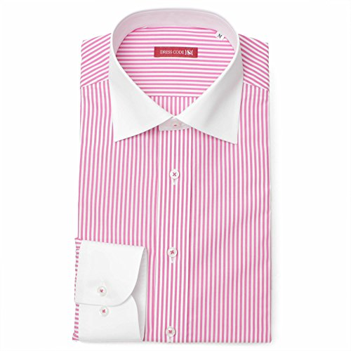 【日本製】ドレスシャツ ワイドカラー コンバーチブルカフス クレリック 長袖ワイシャツ 白 メンズ 長袖 ワイシャツ ストライプ