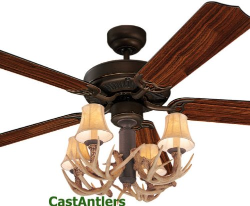 ... : Dark Rustic Bronze Ceiling Fan w/ Antler 4 light | SHOPPING IN US