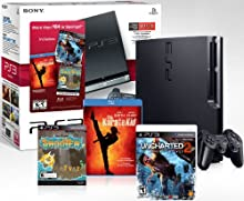 PlayStation 3 160 GB Black Friday Bundle w Uncharted 2 Pixel Junk Shooter Karate Kid Blu-Ray and 25 Video Game Credit