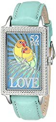 """The P.S. Collection by Arjang and Co. Women's PS-4002S-TQ """"Love Birds"""" Enamel Dial Turquoise Leather Strap Watch"""