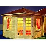 Gartenhaus VICTORIA - B40 Pavillon 300x300cm - 40mm - Inkl. Fußboden+Verglasung