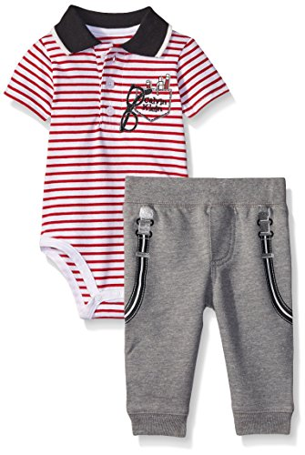 Calvin Klein Baby-Boys Bodysuit and French Terry Pants, Gray, 18 Months