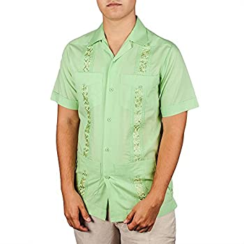 Embroidered cotton blend guayabera color sage.