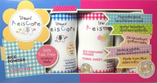 Reiscare-Baby Powder. Made From Rice, 100% Talc Free. 1.76 Oz, Set Of 4 (2 Of Extra Mild & 2 Of Floral Sweet) front-58746