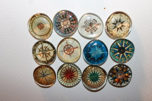 Geocache Swag Glass Stone Refrigerator Magnets - Compass Set front-171534