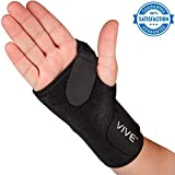 Wrist Brace by VIVE - Best Universal Support for Carpal Tunnel, Tendonitis, Wrist Pain & Sports Injuries - Removable Splint - One Size Fits Most - Satisfaction Guarantee (Right Wrist)