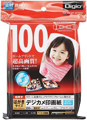 ナカバヤシ インクジェット用紙 デジカメ印画紙 強光沢はがき100枚 JPSK-PC-100G