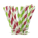 Merry Christmas Straws, Red & Green Holiday Party Supplies (25 Pack) - North Pole Striped Straws, Santa Red & Elf Green Party Decorations, Striped Paper Drinking Straws / Crafts for Holiday Parties