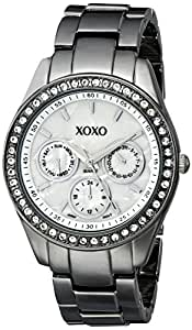 XOXO Women's Rhinestone Accent Gun Metal Bracelet Watch White XO5297