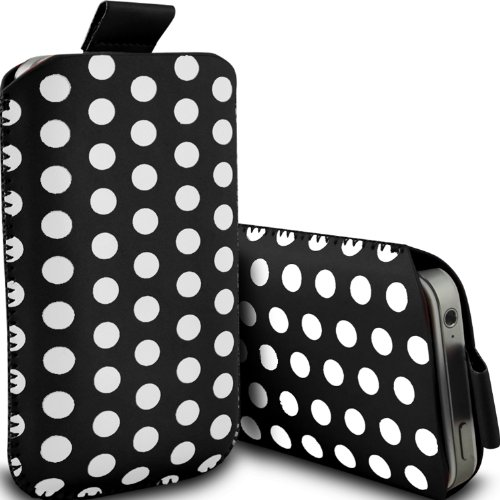 ( Black ) Sony Xperia E3 Dual Sim Protective Stylish Fitted Faux Leder Polka Dot Lasche Tasche Skin Case Cover von ONX3
