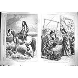 Impresión Antigua del Lince Africano 1869 de la Nave de la Mujer del Cacique Patagón de Kamilo