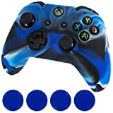 Generic New Silicone Cover Case Skin Controller & grip stick caps for Xbox One(camo blue)