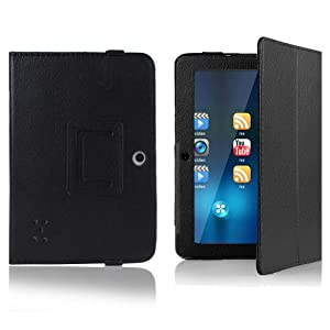 "Crazycity PU Leather Slim 7 inch tablet Folio Protective Cover Case with Stand for 7"" Afunta Q88, AGPtek, Alldaymall Q88, Axis, Chromo, Dragon Touch A13 Q88,Y88, Tagital with Dual Camera Tablet PC, ZTO N1, ZTO N1 plus, Zeepad 7.0 Only (Q88:black) from Cra"