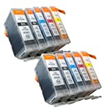 10 Compatible CLI521, PGI520, Printing Ink - WITH CHIP - Multipack 2 Set of 10 Compatible Printer Ink Cartridges for CANON PIXMA iP3600, iP4600, iP4700, MP540, MP550, MP560, MP620, MP630, MP640, MP980, MP990, MX860, MX870 Printer Inks PGI 520BK, CLI 521Y