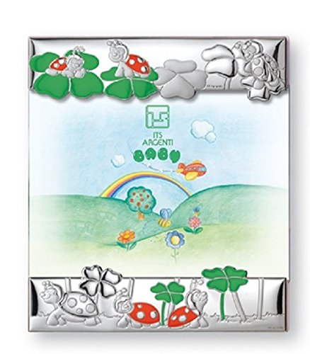 Silver Touch USA Sterling Silver Picture Frame Turtles, Blue
