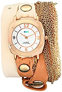 La Mer Collections Women's LMMULTICW2000 Chain Wrap Collection Rose Gold Watch with Two-Tone Leather Wraparound Band