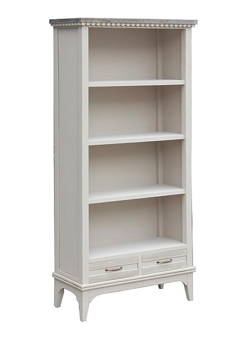 Vacchetti Giuseppe 8035490000 Mobile Marsiglia Libreria, 4 Piani e 2 Cassetti, Legno, Bianco, 86 x 35 x 180 cm