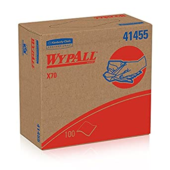 """WypAll X70 Wipes, Reusable Paper Towels (41455) White, 9.1"""" Width x 16.8"""" Length (Case of 10, 100 Wipes per Pop-Up Box )"""