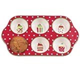 Boston Warehouse Merry Cupcakes 6 Cup Muffin Baking Pan