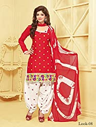 ARAJA NEW DESIGNER COLLECTION GOOD LOOKING WHITE&RED COLOR COTTON EMBROIDERED UNSTICHED FESTIVAL,MARRIAGE AND PARTY WEAR PATIYALA HAND EMBROIDERED DRESS MATERIAL