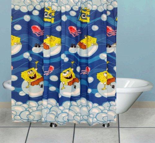 Spongebob Shower Curtain Bubblin Around Bath Accessories front-729946