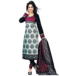 Clickedia Women's Straight Cut Cotton Embroidered White & Pink Salwar Suit - Dress Material