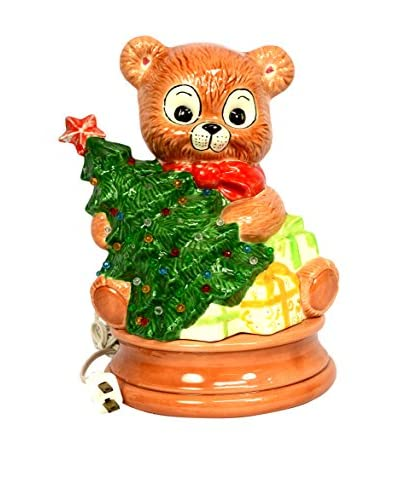 Uptown Down Vintage Light-Up Painted Bear with Christmas Tree, Multi