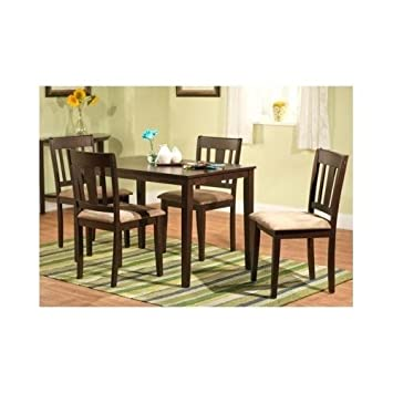 Contemporary Dining Set 5 Piece Cushioned Suede Espresso
