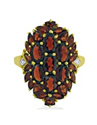 Carillon India Red Garnet Ring Cluster With Gold Plated 925 Sterling Silver CZ Fashion Ring