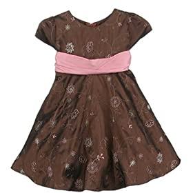 Flower Girl Dress 6M to 24M (Brown Pink or Ivory Grey)