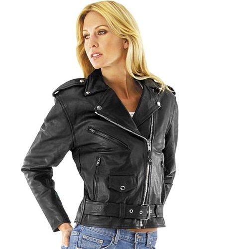 River Road Womens Basic Black Leather Motorcycle Jacket