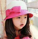 おっきな りぼん 麦わら 帽子 女の子 ベビー キッズ 子供 用 春 夏 / ピンク ブルー ベージュ ブラウン
