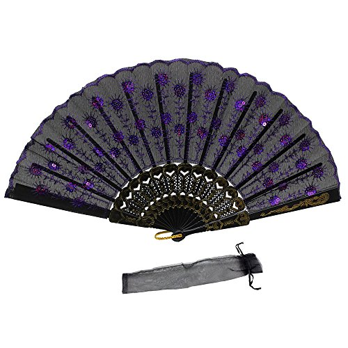 Newstarfactory Peacock Feather Purple Sequins Design Black Plastic Folding Hand Fan with Special Gift (Peacock Wedding Programs compare prices)