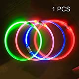 Pack of 1 PCS- LED Dog Collar, USB Rechargeable, glowing pet dog collar for night safety, fashion light up tube flashing tube collar for small medium large dogs (pink)