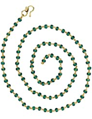 The Jewelbox Traditional Mala Emerald Green 22K Gold Plated Chain Necklace For Women