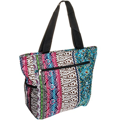 Silverhooks Womens Boho Patchwork Beach Tote Bag