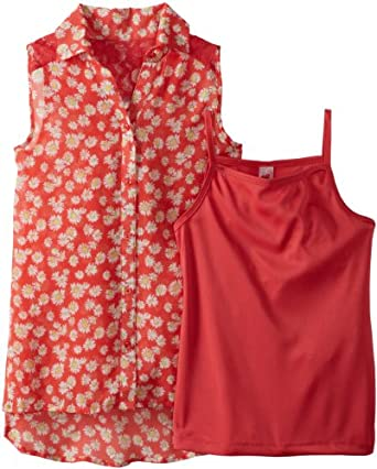 Beautees Big Girls' Sleeveless Ditsy Print Top, Hot Coral, Small