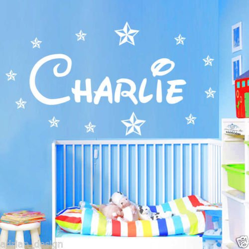 """Adesivo da parete personalizzato nome con stelle stile Disney, Stanza dei bambini, nursery B zz2, Aqua, -Small -SIZE 60cm x 20cm (24"""" x 8"""")"""