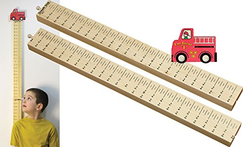 Growth Stick with Fire Truck Topper - Made in USA