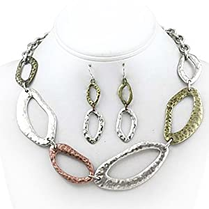 Tri Tone Hammered Link Necklace and Earrings Set