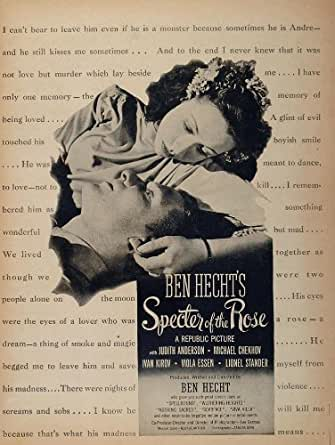 1946 Movie Ad Specter of the Rose Ben Hecht Republic - Original Print Ad